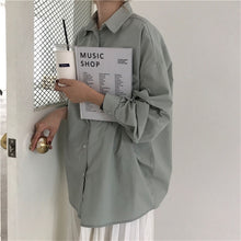 Load image into Gallery viewer, Women's Boyfriend Shirt Loose Casual Blouse 4 Colors One Size Bust 132cm/51.5in Length 65cm/25.4in Sleeve 47cm/18.3in Shoulder 57cm/22.2in FREE SHIPPING