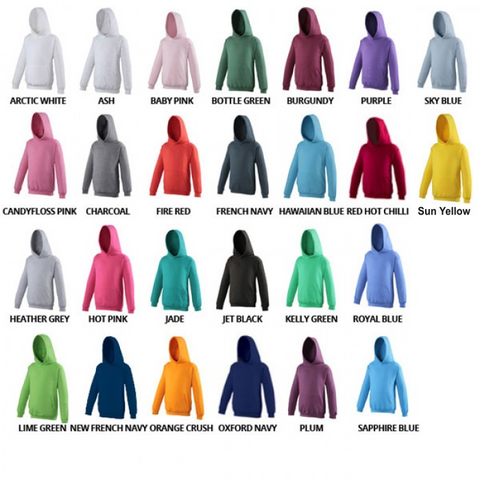 Awdis Just Hoods Kids hoodie colour chart JC01J