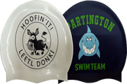printed swim cap with a customised design