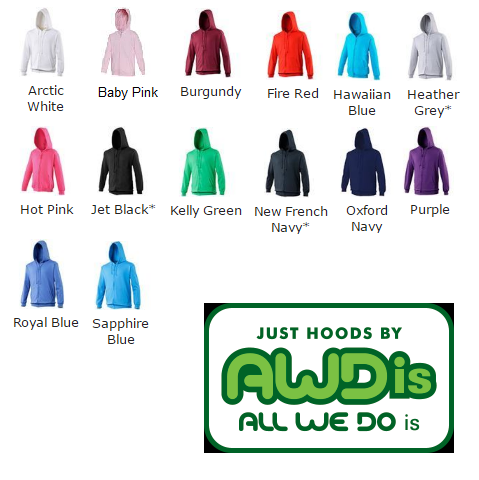 Awdis Kids Zoodie colour chart