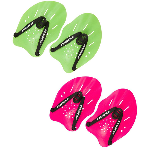 Maru Hand Paddles in green and pink