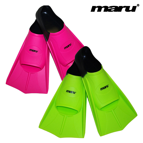 Maru training fins in green/black and pink/black