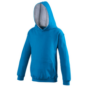 Awdis Children's Varsity hoodie shown in Turquoise and Grey. JH03J