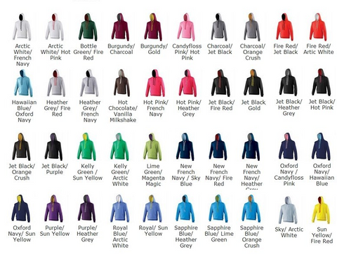 Awdis Just Hoods Adult Varsity colour chart JH03