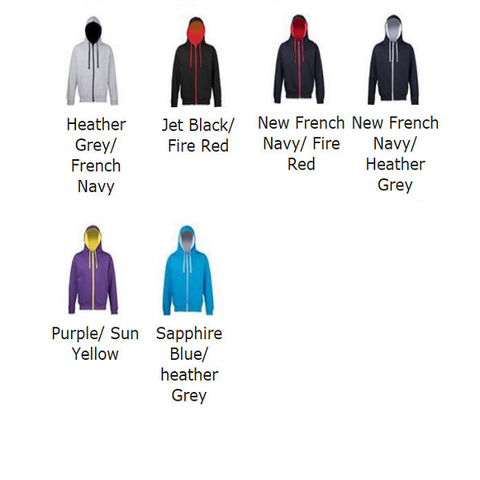 Awdis Children's Varsity Zoodie colour chart. JH53J