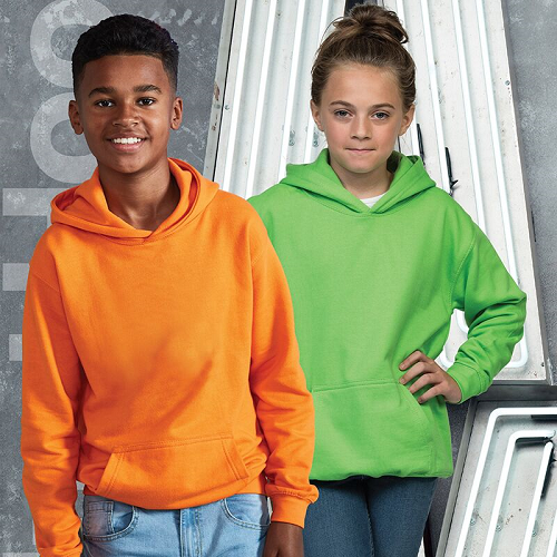 Awdis Children's hoodie shown in Orange and green on two children. JH01J