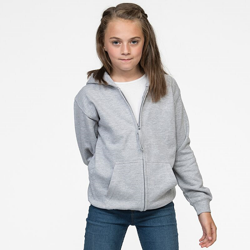 Awdis Children's Zoodie being worn by a little girl in Grey JH50J