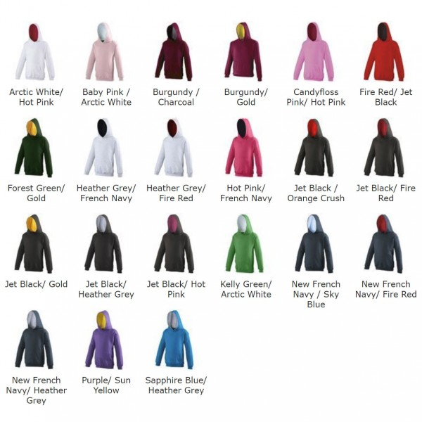 Awdis Just Hoods Kids Varsity colour chart JH03J