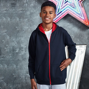 Awdis Children's Varsity Zoodie. Being worn by a boy in Navy and red. JH53J