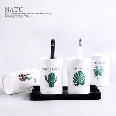 Mug Wash Gargle Suit Cup Decorative Water Mug Ceramic Bathroom Accessories