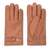 Cork brown moose leather gloves with small button on wrist