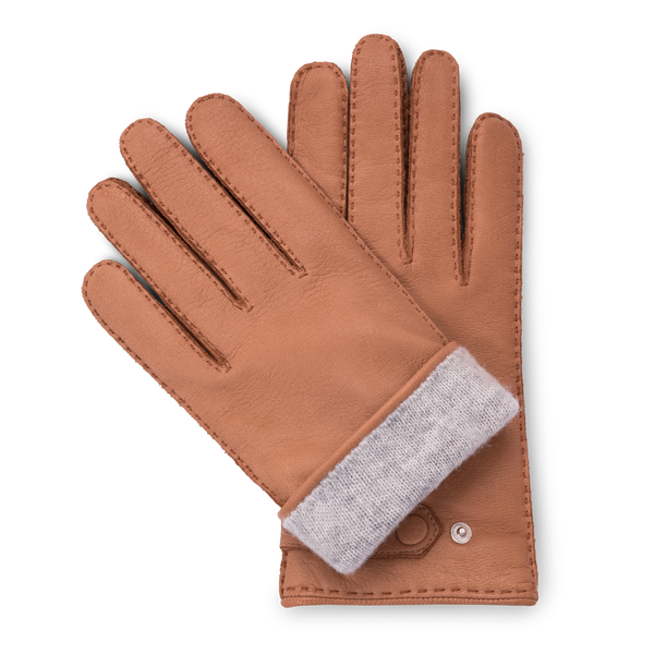Cork brown leather gloves with grey cashmere lining