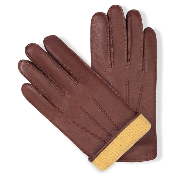 Handmade chestnut brown moose leather gloves with yellow cashmere lining