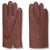 High-quality chestnut brown moose leather gloves with yellow cashmere lining for men