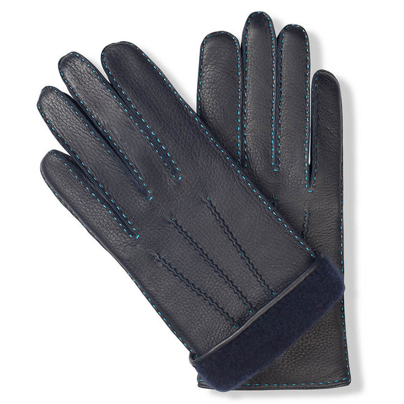 Handmade leather gloves with navy blue cashmere lining