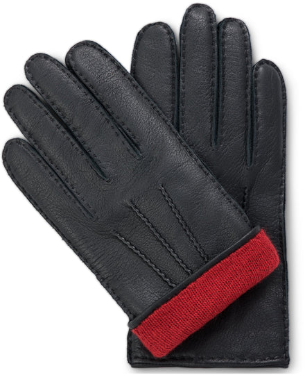 Handmade black moose leather gloves with red cashmere lining