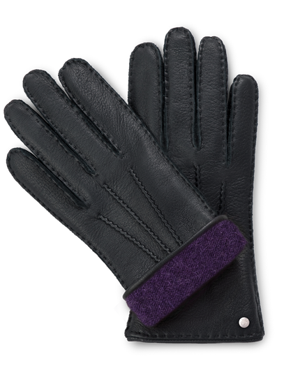 Handmade black moose leather gloves with purple cashmere lining