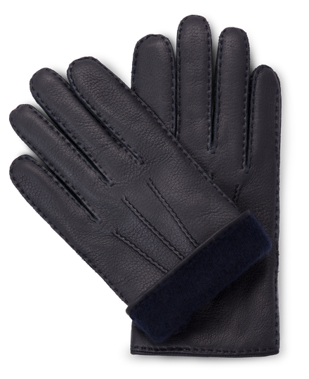 Handmade black moose leather gloves with navy blue cashmere lining