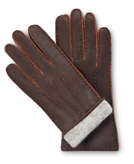 Dark brown moose leather gloves for women with light gray cashmere lining