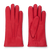 Handmade red moose leather gloves with light gray cashmere lining