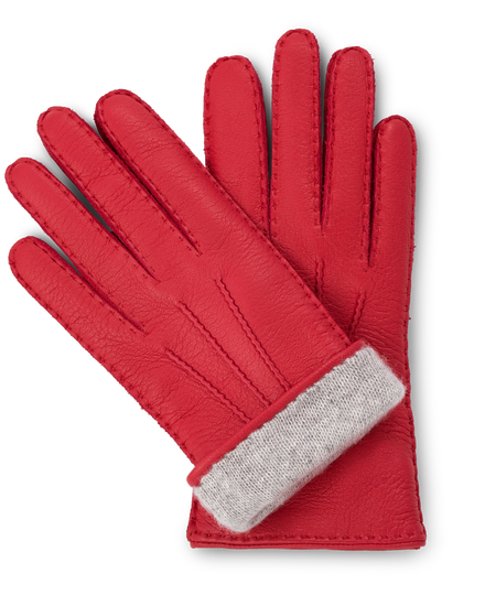 Red moose leather gloves for women with light gray cashmere lining