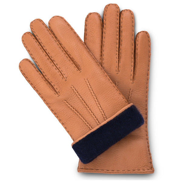 Cork brown moose leather gloves for women with navy blue cashmere lining