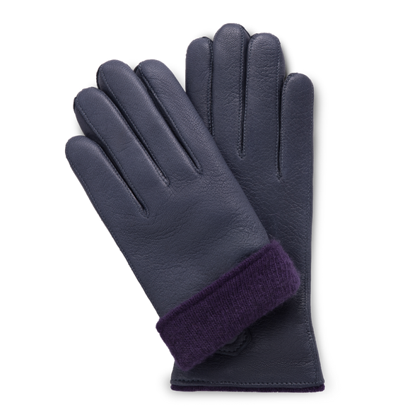 Navy blue moose leather gloves for women with purple cashmere lining