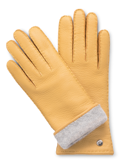 Handmade light yellow moose leather gloves with  light gray cashmere lining