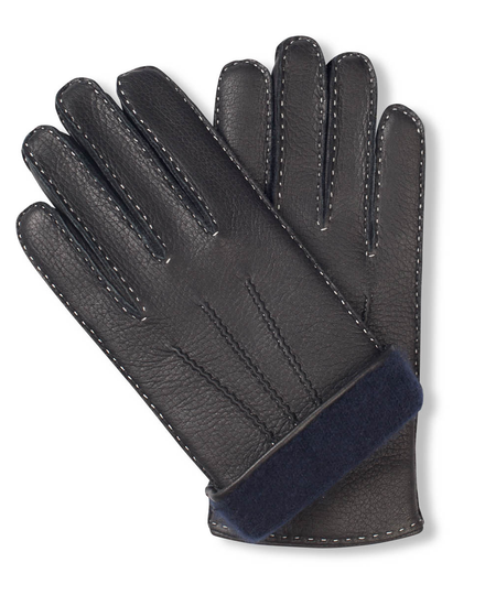 Black moose leather gloves for men with navy blue cashmere lining