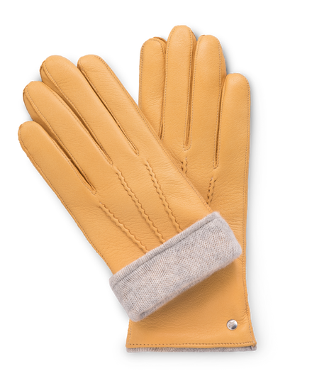 Light yellow moose leather gloves for women with light gray cashmere lining