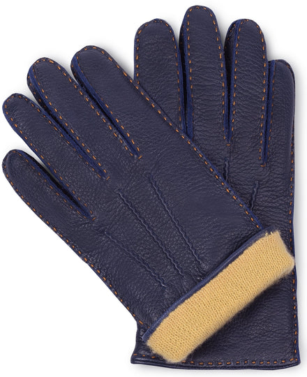 Navy blue moose leather gloves for men with yellow cashmere lining