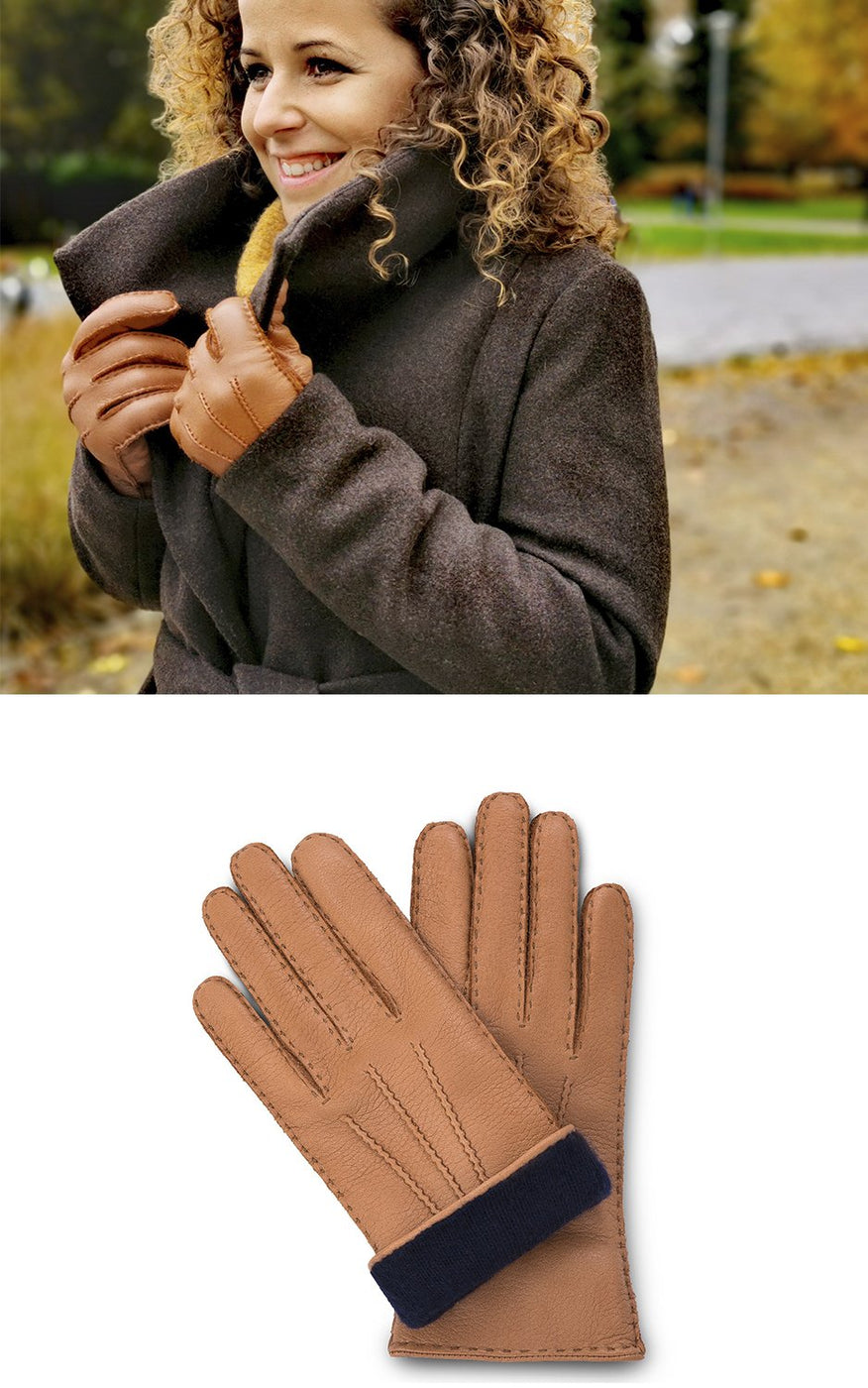 Woman in brown coat wears cork brown moose leather gloves with cashmere lining