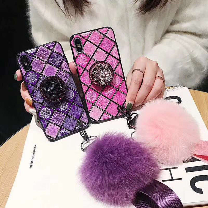 Applicable for Apple Iphone X/XS/Xs MAX  mobile phone case new Epoxy luxury diamond jewelry  hair ball