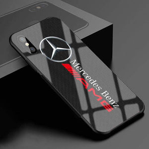 Mercedes-Benz Logo Anti-Drop Glass Phone Case For iPhone