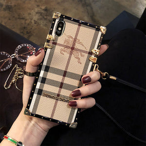 BURBERRY Genuine Leather Phone Case For iPhone