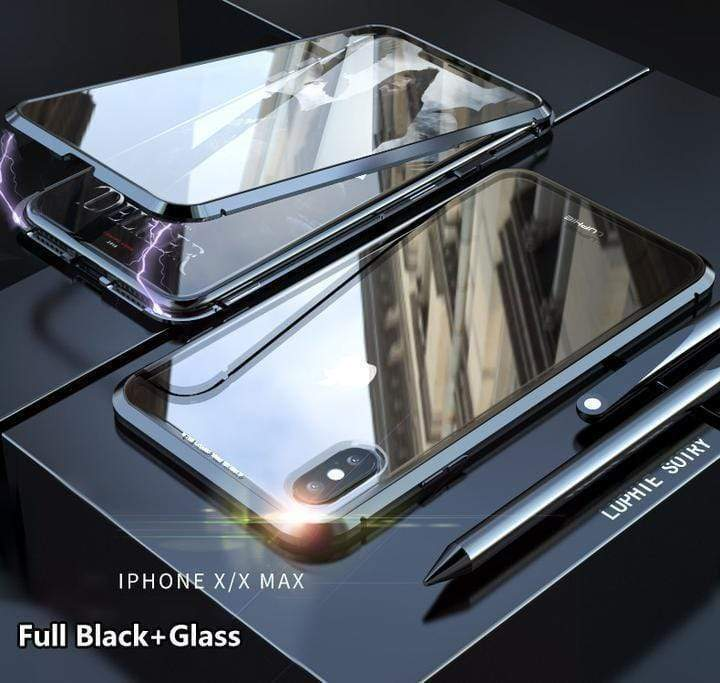 Magnetic Adsorption Transparent Tempered Glass Two side Glass Cover Phone Case For iPhone X XR XS MAX
