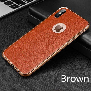 Slim Real Leather Metal Frame Phone Case For iPhone 7 / 8 / 7 Plus / 8 Plus