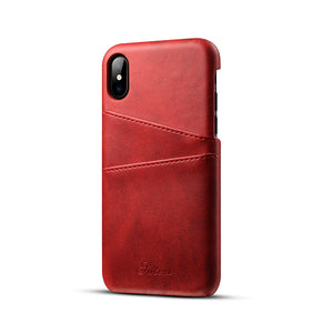 Full Leather Case Compatible with iPhone X/Xs/Xs Max |Leather Wallet Card Holder| Real Leather with Natural Aging Effect, Covered Buttons, 1MM Protective Screen Bezel, Japanese Suede Lining