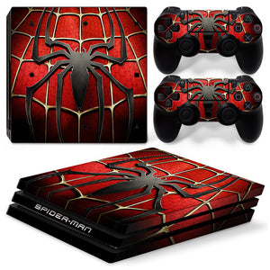 Spider Man PS4 Pro Whole Body Skin Sticker Decal Cover for System Console and Controllers