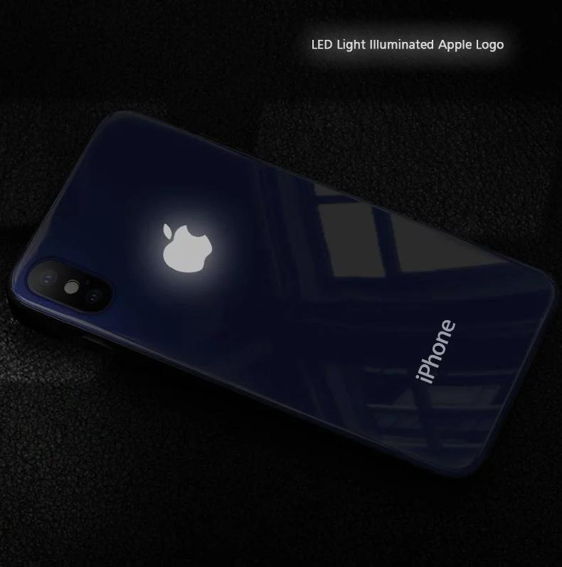 finest selection a8342 b588b LED Light Illuminated Apple Logo 3D Designer Glass Case Back Cover For  iPhone X/XS/XR/XS MAX