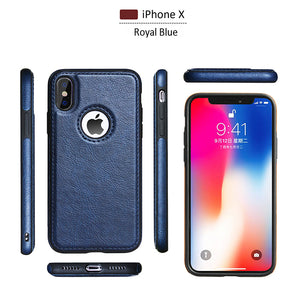 Luxury Leather Thin Slim Fit Soft Flexible TPU Hybrid Bumper Shockproof Non-Slip Grip Anti-Scratch Protective Cover Cases for Apple iPhone X\Xs\Xs Max