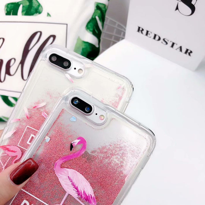 Flamingos Glitter Liquid Floating Bling Sparkle Quicksand Shockproof TPU Protective IPhone Case