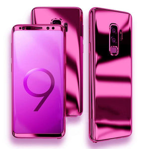 360 Degree Full Body Case Soft HD Screen Protection Protector Film Ultralight Slim Hard Mirror Chrome Electroplate Cover for Samsung Galaxy S9 Plus