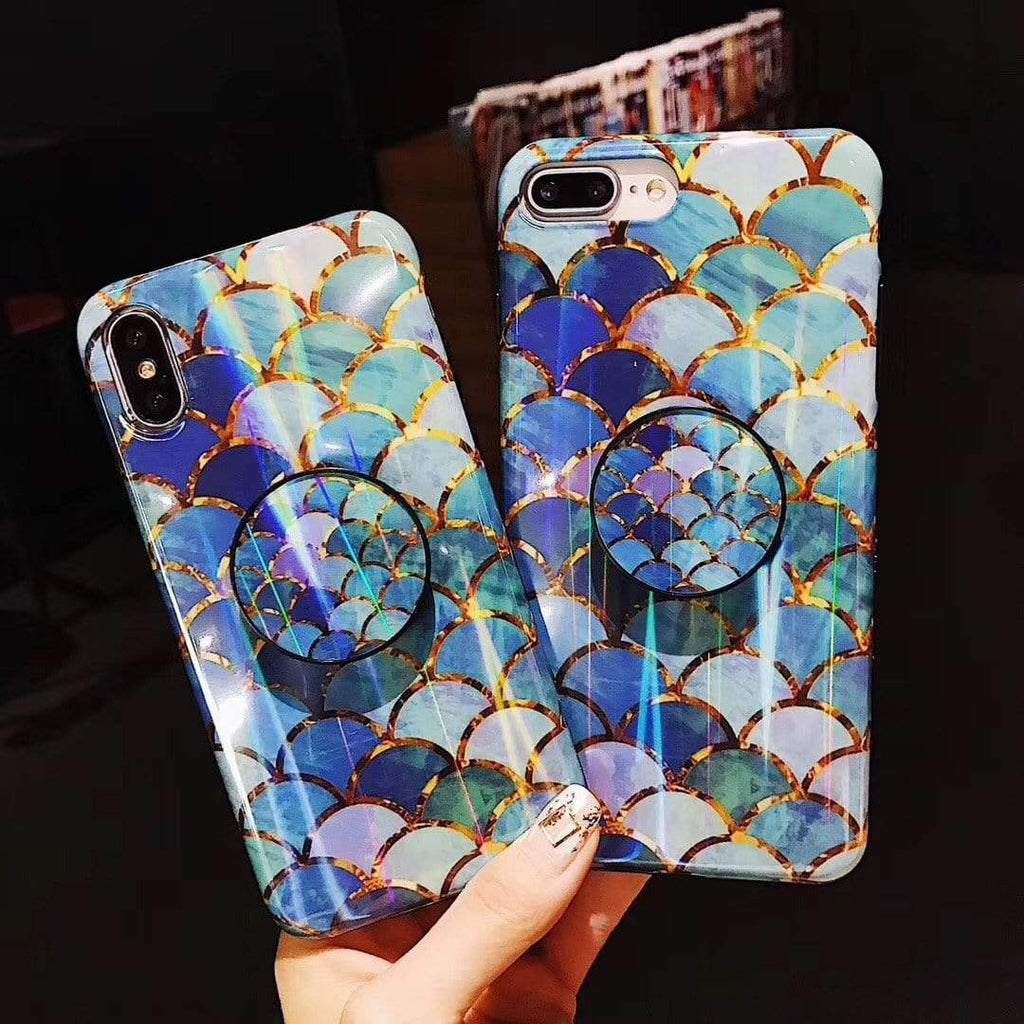 Fish Scale Pattern Bracket Phone Case For iPhone