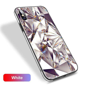 3D Tempered Glass Metal Edge Diamond Gradient Phone Case for iPhone 6/6S 7/8 7Plus/8 Plus X/XS
