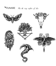 "Load image into Gallery viewer, Set of 6 tattoos ""Wings and Flowers"" Collection"