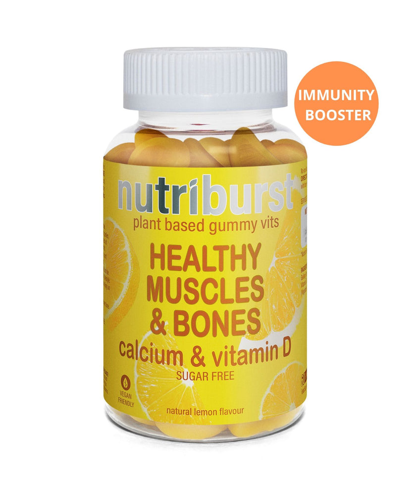 Nutriburst plant based gummy vits. HEALTHY MUSCLES & BONES. Calcium & vitamin D