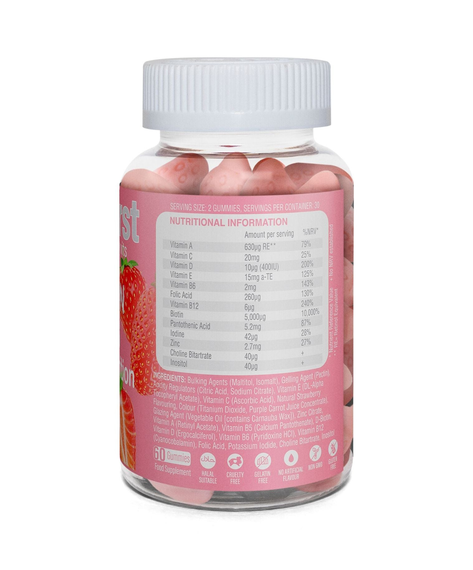 Gummies serving size and nutritional information. Vitamin C, Vitamin E, Biotin, Zinc, Vitamin A