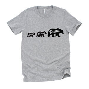 d7716341 Personalized Father's Day Gift T Shirt for Dad with Papa Bear and Cubs with  Custom Kid's Names