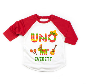 86b1f90fd Mexican Fiesta Uno Cinco de Mayo First Birthday Personalized 3/4 Sleeve Raglan  Shirt